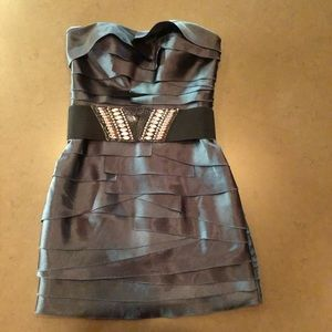 bebe Dresses - Bebe layered cocktail dress w/black studded belt